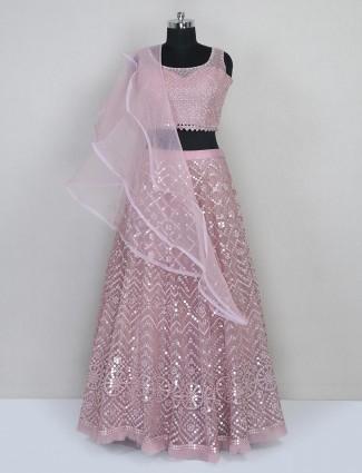 Pink net reception wear lehenga choli