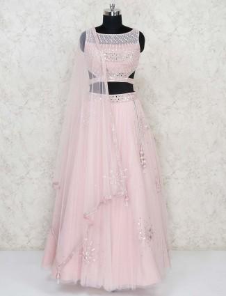 Pink net wedding occasion premium lehenga choli
