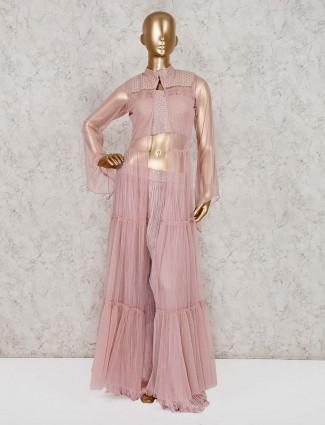Pink net wedding wear indo western sharara suit
