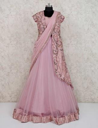 Pink net wedding wear jecket style designer anarkali