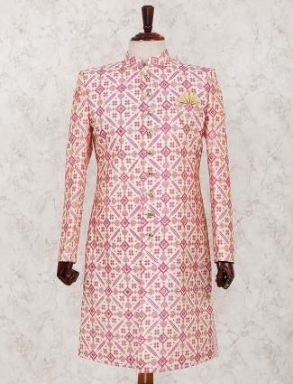 Pink patola printed silk fabric indo western