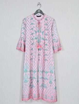 Pink printed casual look kurti in cotton