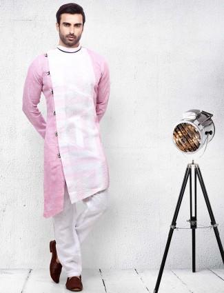 Pink printed cotton fabric slim fit kurta suit