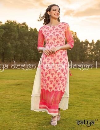Pink printed cotton palazzo set