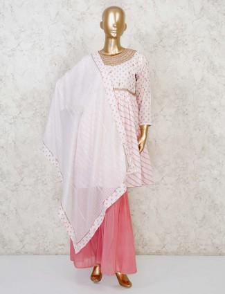 Pink printed cotton punjabi sharara suit