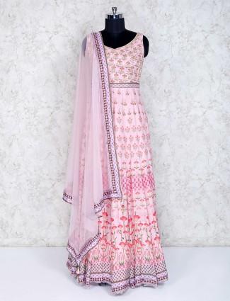 Pink printed cotton silk wedding anarkali suit