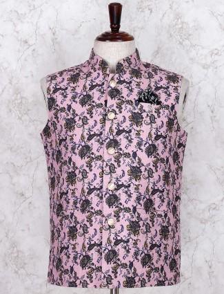 Pink printed jute fabric waistcoat