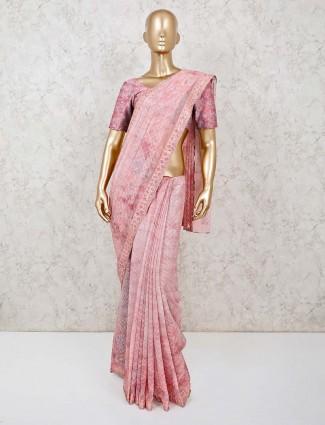 Pink printed organza tissue silk saree