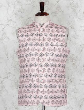 Pink printed terry rayon vented hem waistcoat