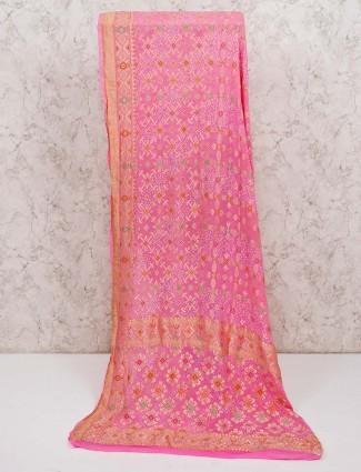 Pink pure banarasi silk reception saree