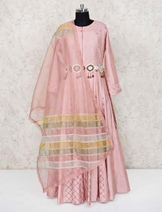 Pink raw silk designer floor length anarkali suit