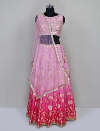 Pink raw silk designer wedding wear lehenga choli