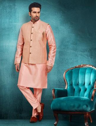 Pink raw silk mens waistcoat set