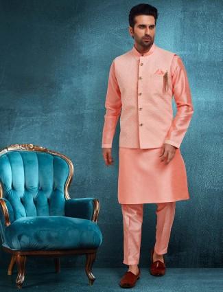 Pink raw silk party wear waistcoat set