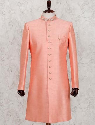 Pink raw silk solid mens indo western