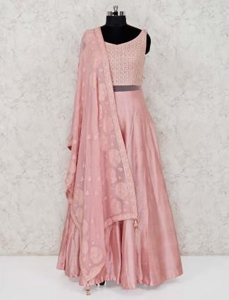 Pink raw silk wedding wear anarkali suit