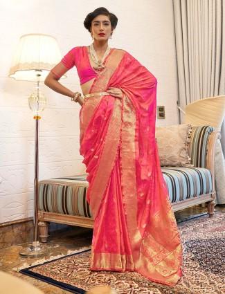 Pink reception session kanjeevaram silk saree