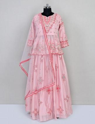 Pink reception wear lehenga choli in chiffon