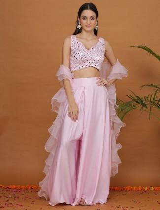 Pink satin crop top designer palazzo suit