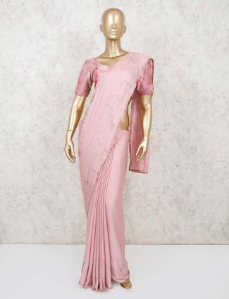 Pink satin indian saree
