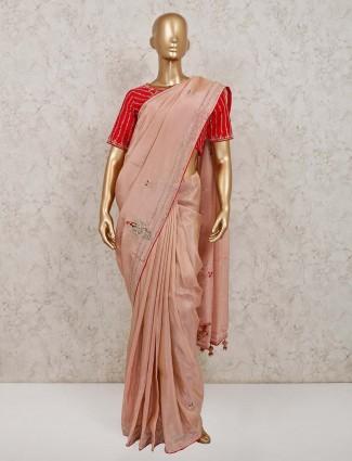 Pink satin saree for party look