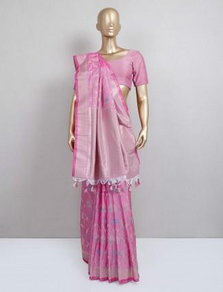 Pink semi silk festive wear sari
