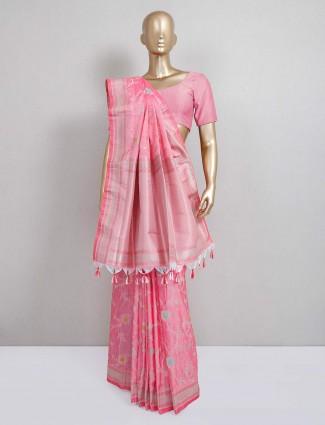 Pink semi silk saree for festive wear