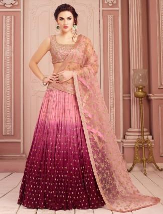 Pink shaded party wear georgette lehenga choli