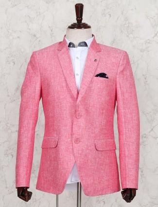 Pink solid cotton jute fabric blazer