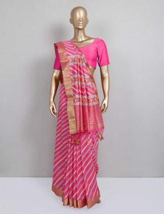 Pink stripe printed festive cotton silk saree