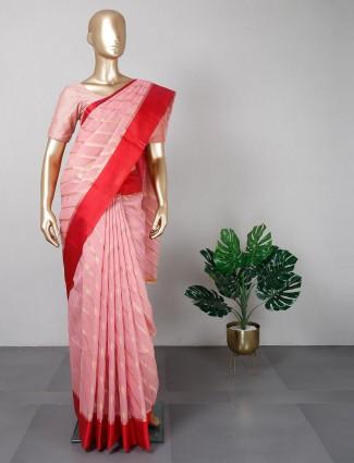 Pink thread work festive wear saree