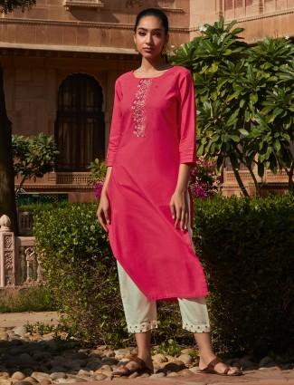 Pink thread woven cotton pant suit