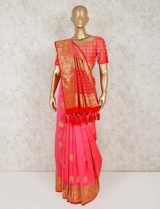 Pink thread zari weaving semi silk saree