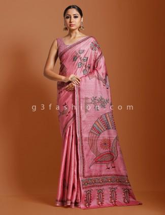 Pink khadi tussar silk ceremony saree