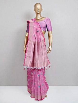 Pink wedding semi banarasi silk