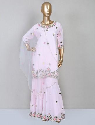 Pink wedding wear sharara suit
