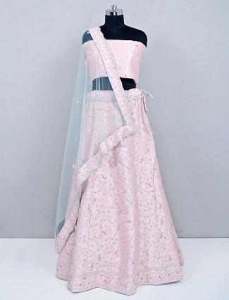 Pink wedding wear unstitched lehenga for wedding