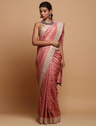 Pink Zari Waved Silk Saree