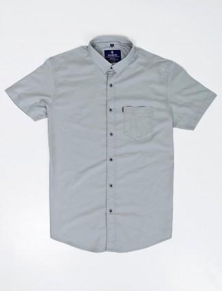 Pioneer dark grey solid half sleeves shirt