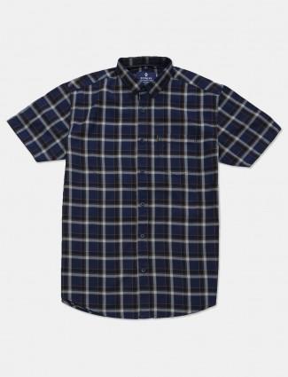 Pioneer navy checks cotton shirt
