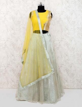 Pista green and yellow hue lehenga choli in net fabric