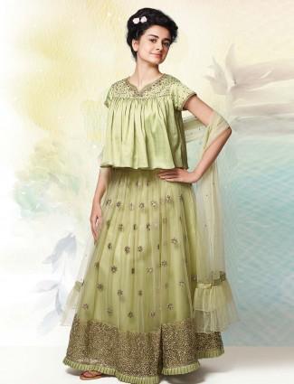 Pista green beautiful net lehenga choli