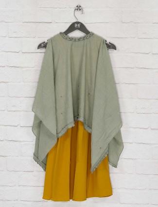 Pista green cape top and yellow hue kurti dress