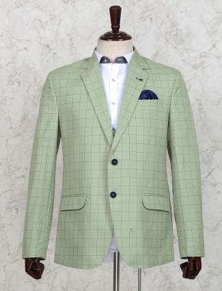 Pista green colored checks pattern blazer