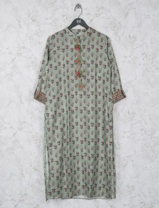 Pista green cotton fabric printed kurti