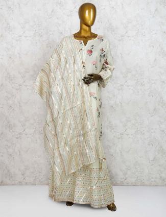 Pista green cotton fabric printed punjabi sharara suit