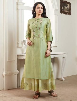 Pista green cotton round neck kurti