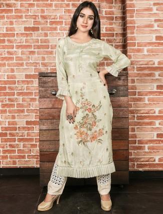 Pista green cotton silk festive function kurti