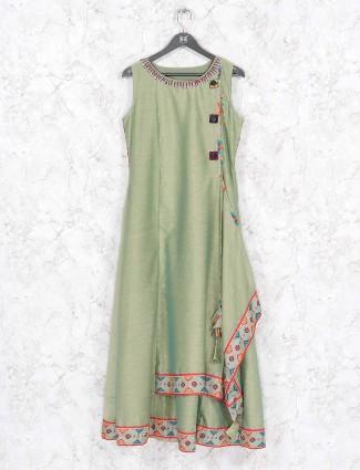 Pista green cotton silk festive wear kurti