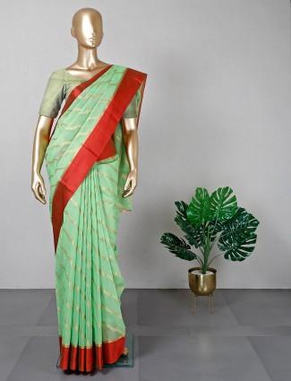 Pista green cotton silk festive wear sari